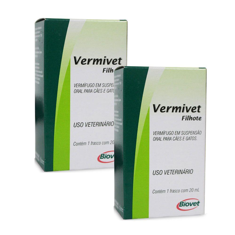 Combo Vermífugo Biovet Vermivet para Cães e Gatos Filhotes - 20 ml