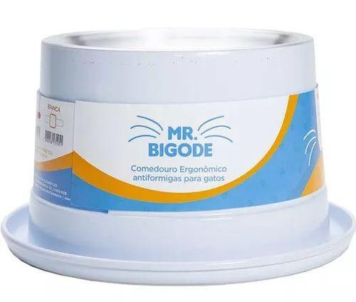 Comedouro Alumínio Gatos Adultos Mr. Bigode Nf Pet Cor Branca