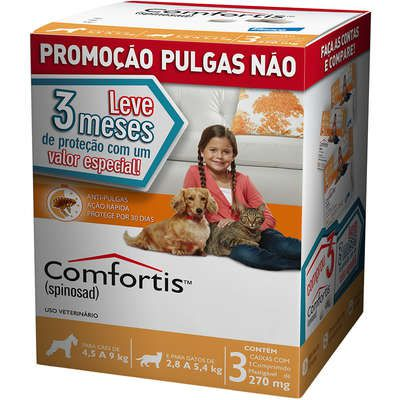 Anti-pulgas Comfortis Laranja 4,5 A 9kg - Combo 3 Comprimidos