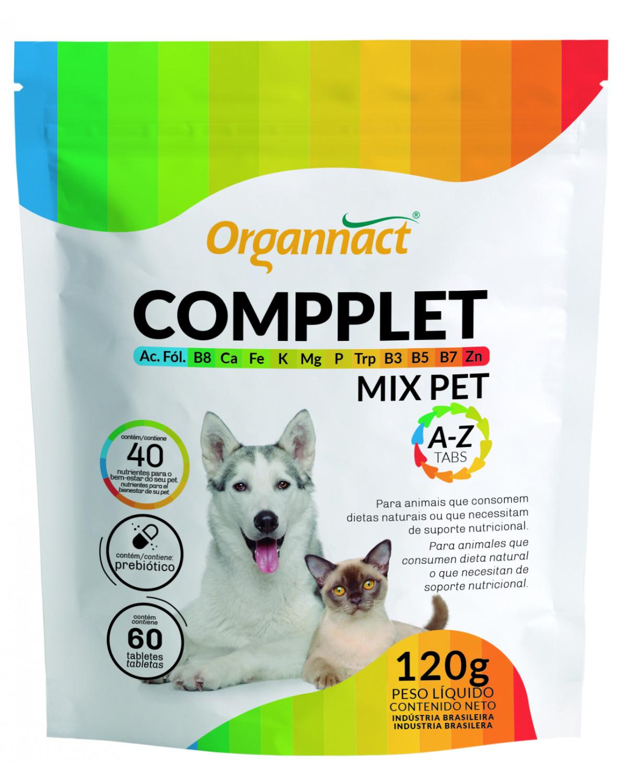 Compplet Mix Pet A-Z Tabs Suplemento Vitamínico para Cães e Gatos 120 g Organnact