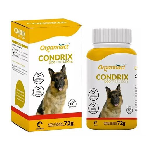 Condrix Dog Tabs 1200 mg Suplemento Aminoácido para Cães 72 g Organnact