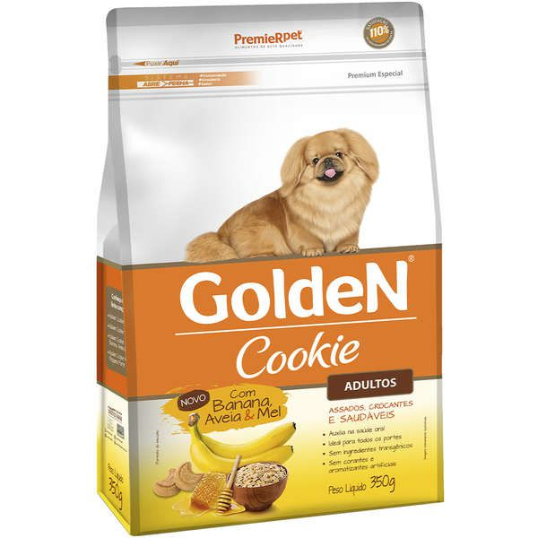 Cookie Golden para Cães Adultos de Porte Pequeno Sabor Banana, Aveia e Mel 350g