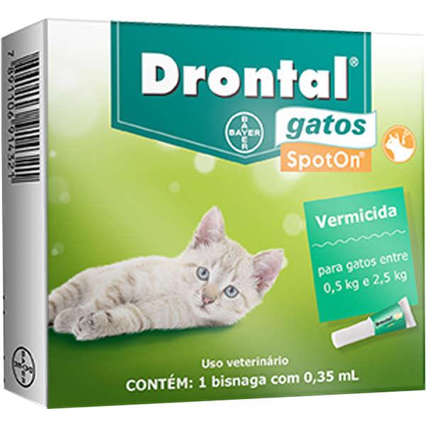 Drontal Bayer Vermífugo SpotOn para Gatos entre 0,5 Kg e 2,5 Kg - 0,35 mL