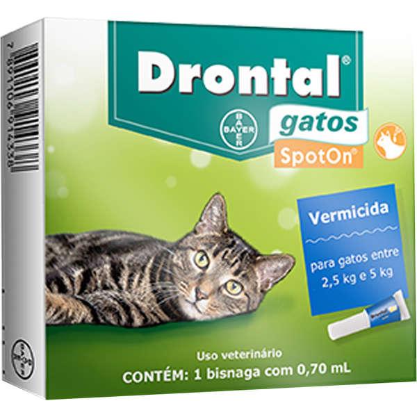 Drontal Bayer Vermífugo SpotOn para Gatos entre 2,5 Kg e 5 Kg - 0,70 mL