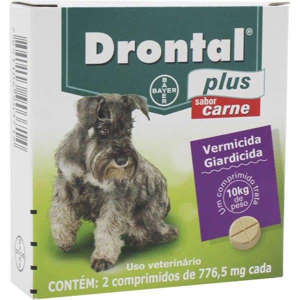 Drontal Plus Bayer Vermífugo Sabor Carne para Cães até 10 Kg - 2 Comprimidos