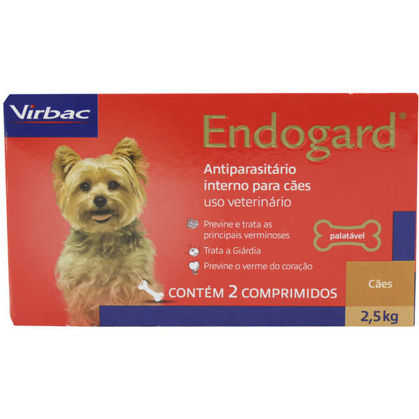Endogard Vermífugo Cães até 2,5 kg com 2 comprimidos