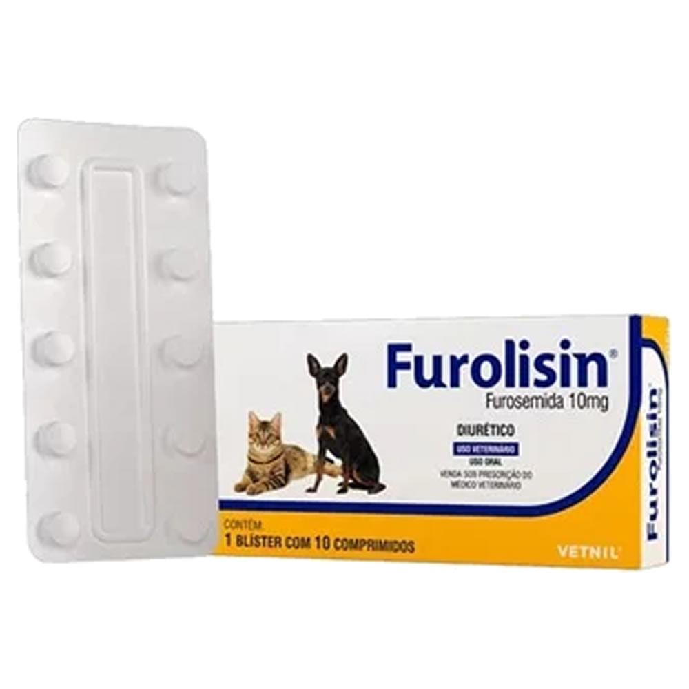 Furolisin 10mg Diurético Cães e Gatos 10 Comprimidos Vetnil