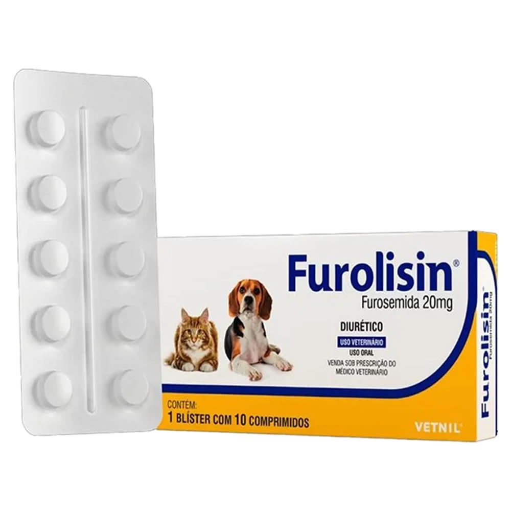 Furolisin 20mg Diurético Cães e Gatos 10 Comprimidos Vetnil