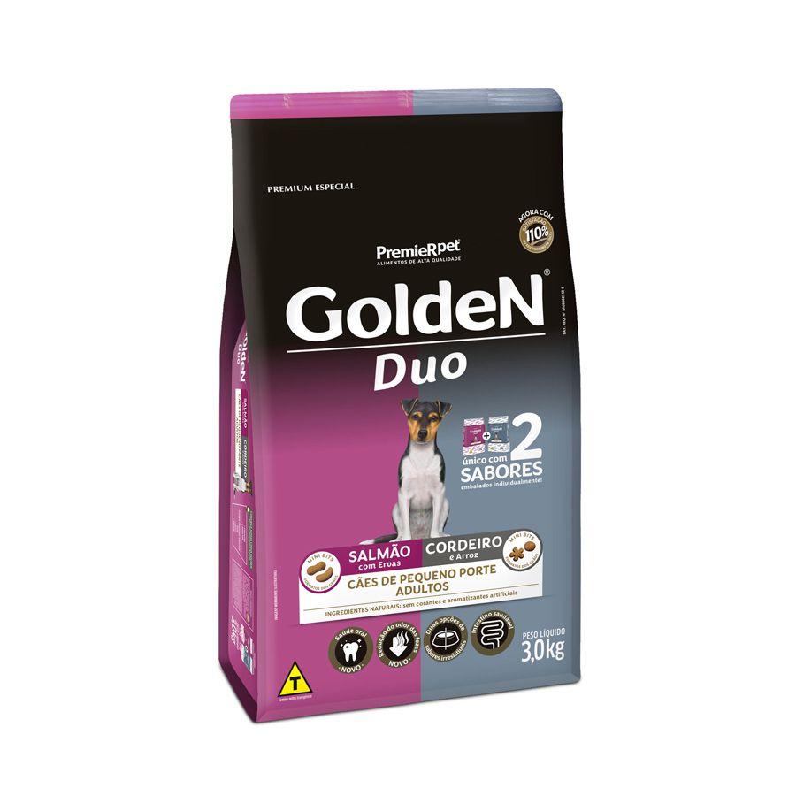 Ração Golden Duo para Cães Adultos de Pequeno Porte com Salmão com Ervas e Cordeiro e Arroz 3 Kg