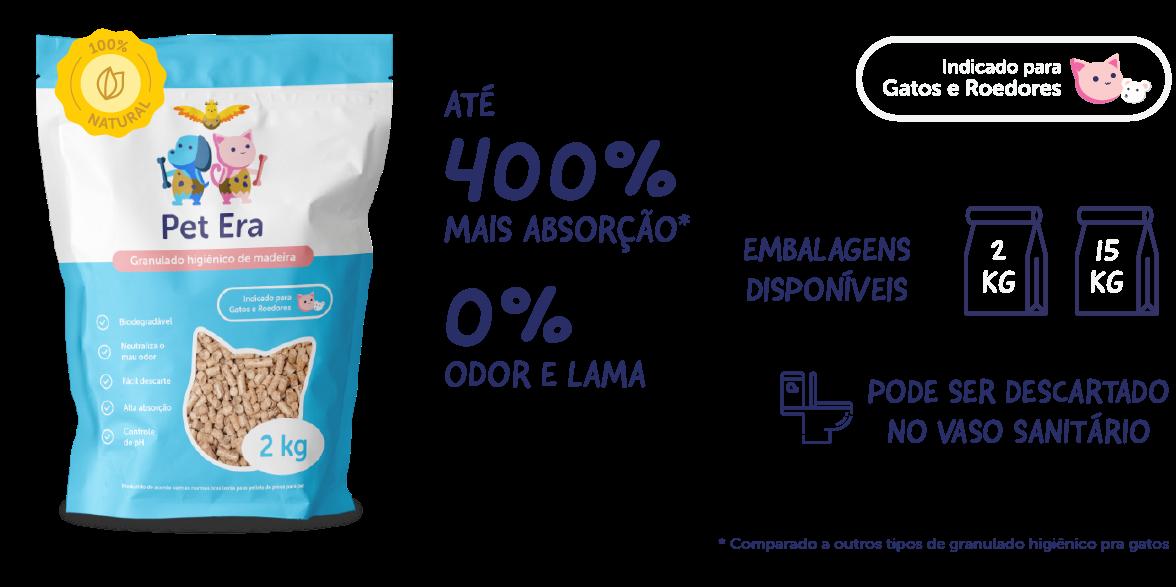 Granulado Higiênico De Madeira para Gatos Pet Era 15 Kg