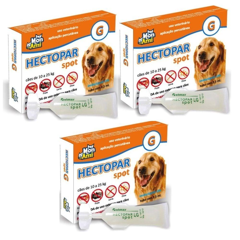 Hectopar G Antipulga para Cão de 10 a 25 kg Kit com 3