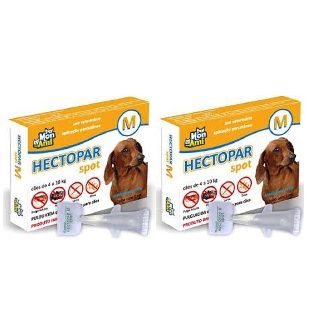 Hectopar M Antipulga para Cão de 4 a 10 kg kit c/ 2