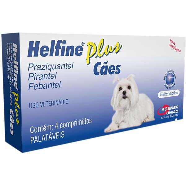 Helfine Plus Vermífugo Para Cães Agener 4 Comprimidos