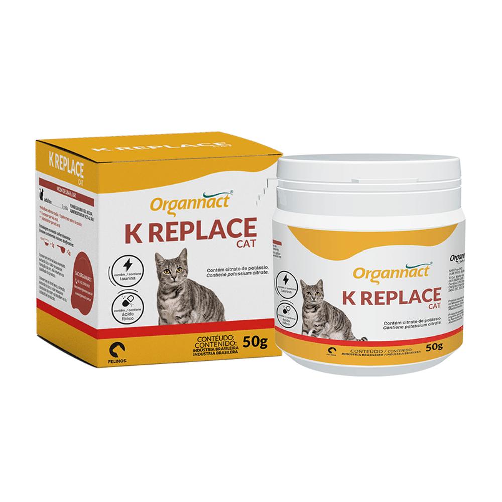 K Replace Cat  Suplemento Vitamínico para Gatos Adultos 50 g Organnact