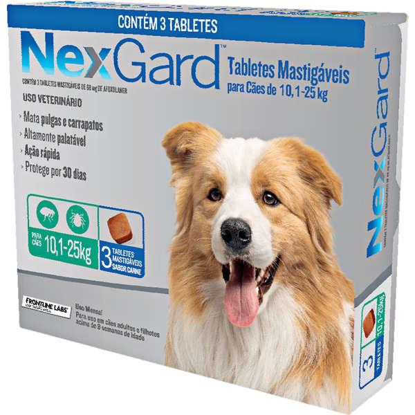 Antipulgas e Carrapatos Nexgard 68 mg para Cães de 10,1 a 25 Kg com 3 Tabletes