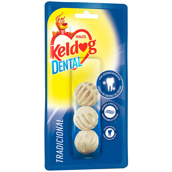 Osso para Cães Keldog Dental Bolinhas c/ 3 Unidades