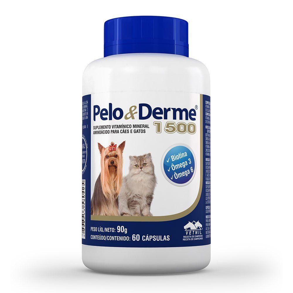 Pelo E Derme Para Cães E Gatos 1500 Mg Dha+epa 60 Cápsulas
