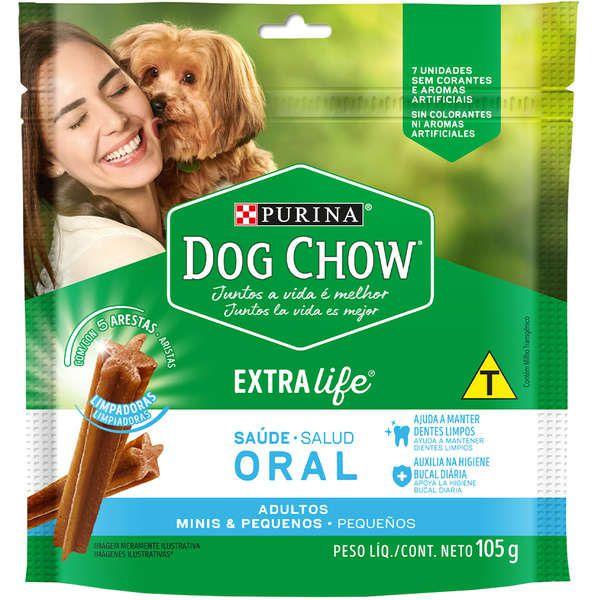 Petisco Dog Chow Saúde Oral Extra Life Para Cães Adultos De Raças Pequenas C/ 7 Unidades  105g