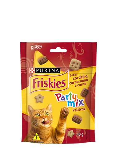 Petisco Friskies Party Mix Sabor Cordeiro, Carne Suína e Carne 40g