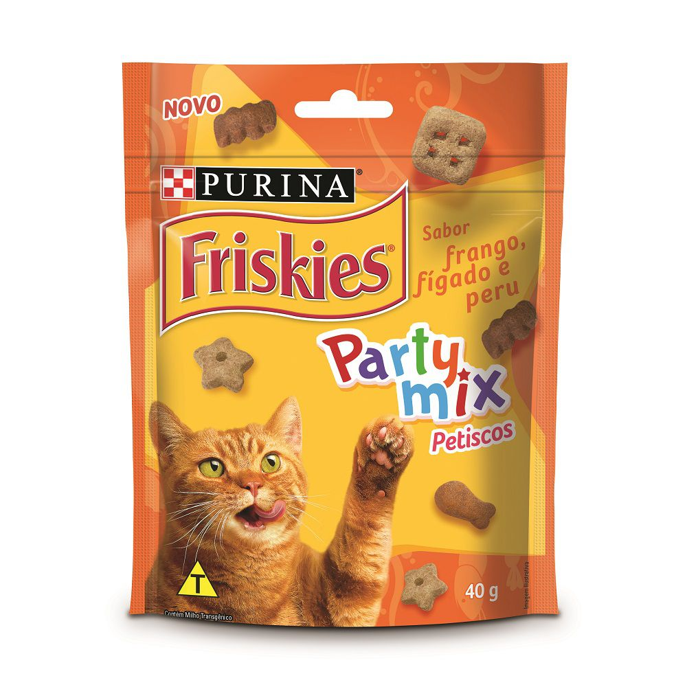 Petisco Friskies Party Mix Sabor Frango, Fígado e Peru 40g