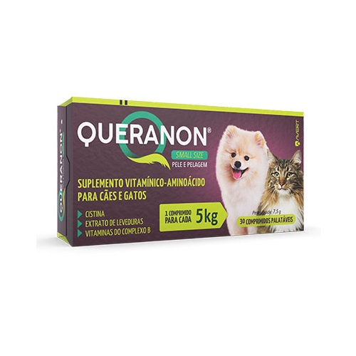 Queranon Small Size Suplemento Alimentar para Cães e Gatos de até 5 kg 30 comprimidos