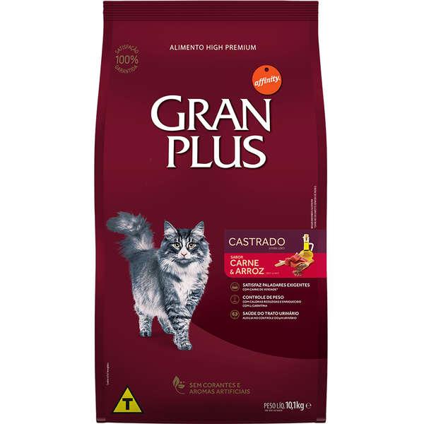 Ração GranPlus Carne e Arroz para Gatos Adultos Castrados 10 kg