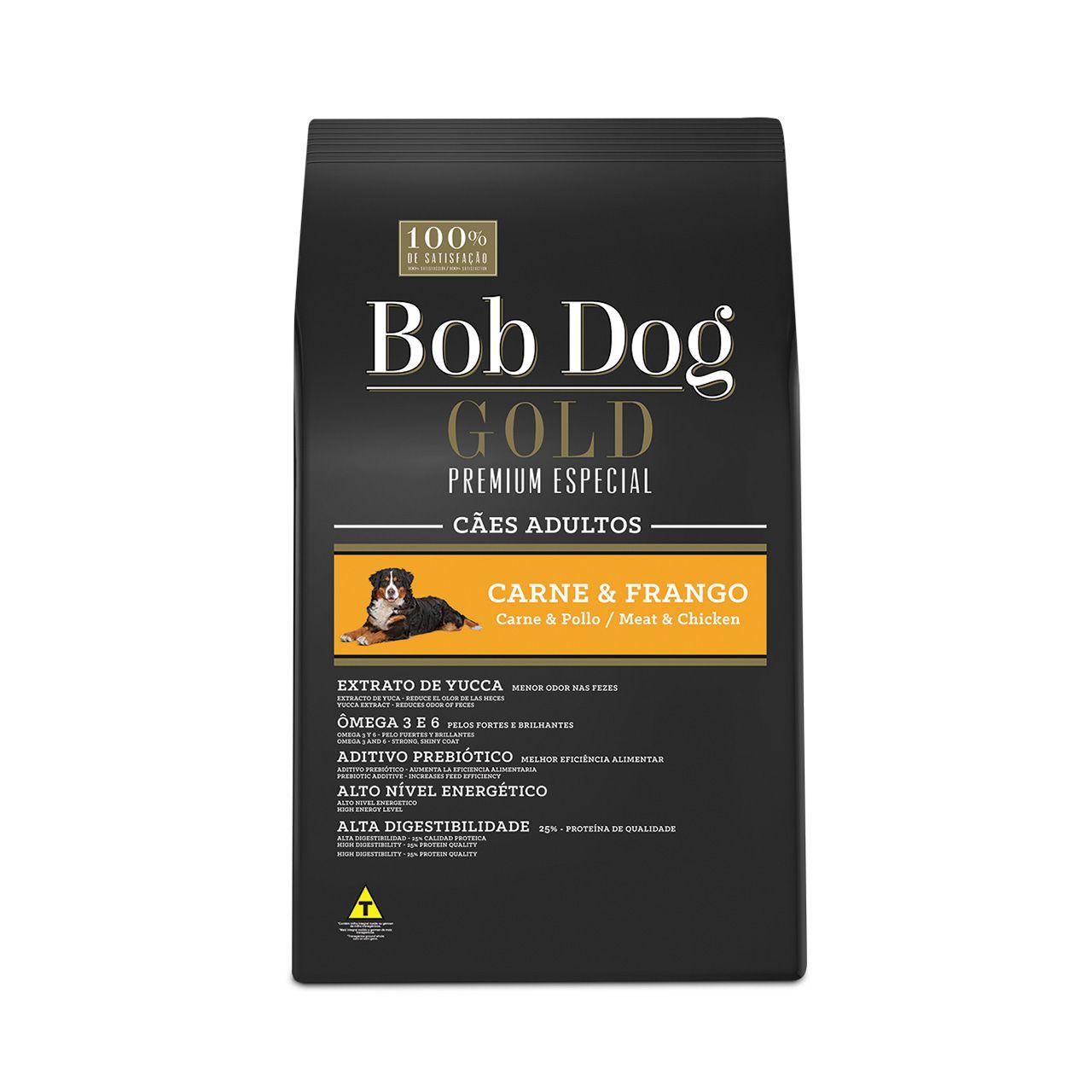 Ração Bob Dog Gold Premium Especial para Cães Adultos Sabor Carne e Frango 15 Kg