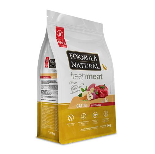 Ração Fórmula Natural Fresh Meat para Gatos Castrados Sabor Carne, Batata doce e Cúrcuma 1 Kg