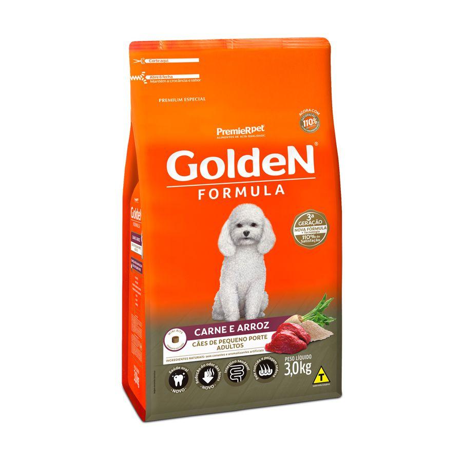 Ração Golden Fórmula para Cães Adultos de Pequeno Porte Sabor Carne e Arroz 3 Kg