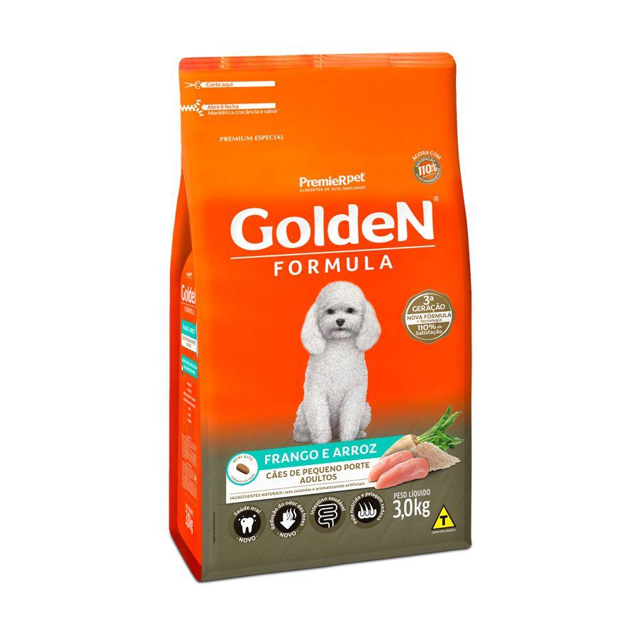 Ração Golden Fórmula para Cães Adultos de Pequeno Porte Sabor Frango e Arroz 3 Kg