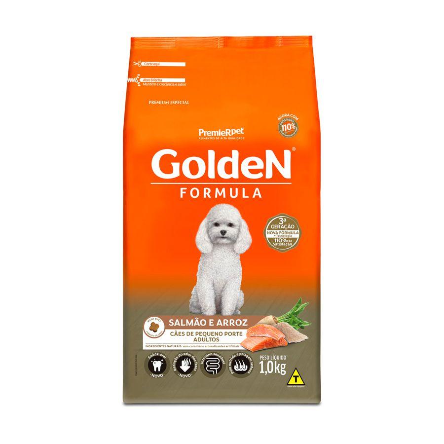 Ração Golden Fórmula para Cães Adultos de Pequeno Porte Sabor Salmão e Arroz