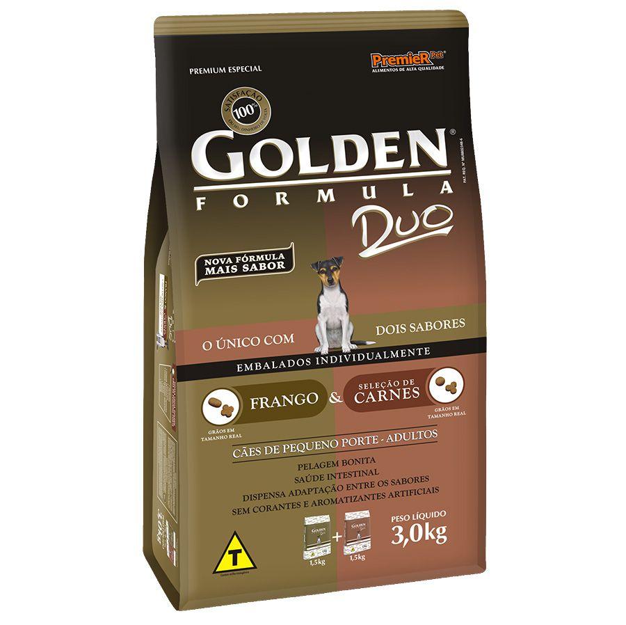 Ração Golden Duo para Cães Adultos de Pequeno Porte com  Frango e Seleção de Carnes 3 Kg
