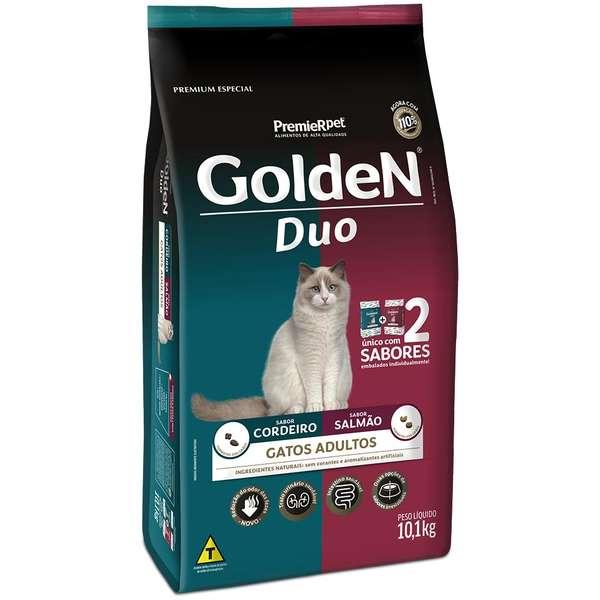 Ração Golden Duo para Gatos Adultos Sabores de Cordeiro e Salmão 10,1 Kg