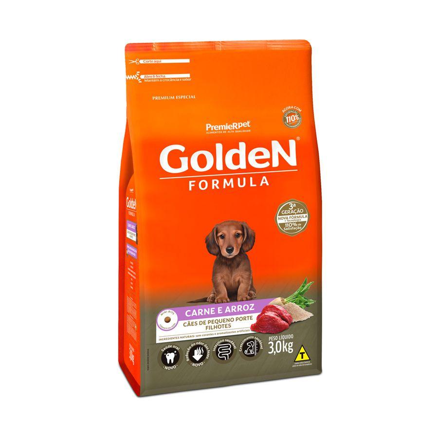 Ração Golden Fórmula para Cães Filhotes de Porte Pequeno Sabor Carne e Arroz 3 Kg
