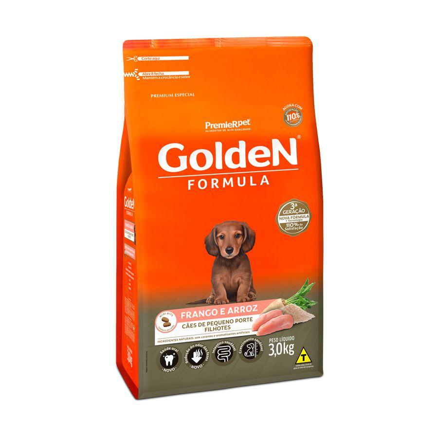 Ração Golden Fórmula para Cães Filhotes de Porte Pequeno Sabor Frango e Arroz 3 Kg