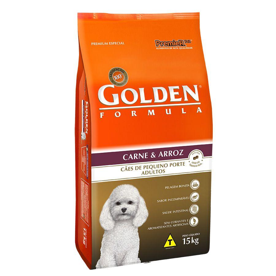 Ração Golden Fórmula para Cães Adultos de Pequeno Porte Sabor Carne e Arroz 15 Kg