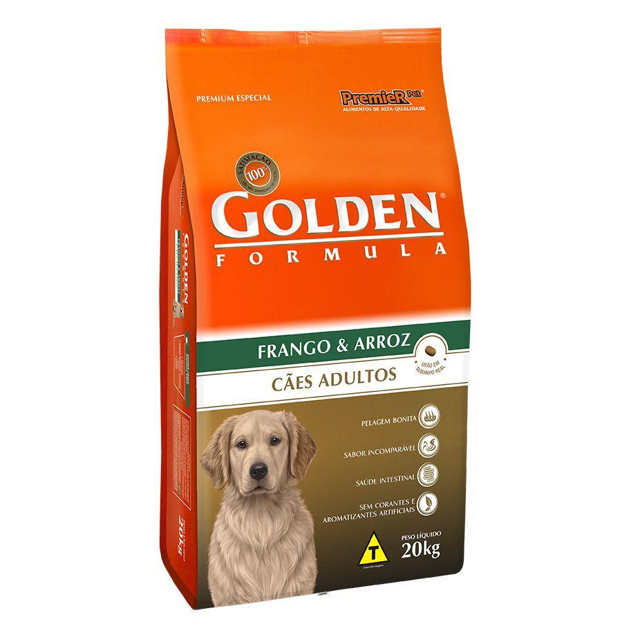 Ração Golden Fórmula para Cães Adultos Sabor Frango e Arroz 20 Kg