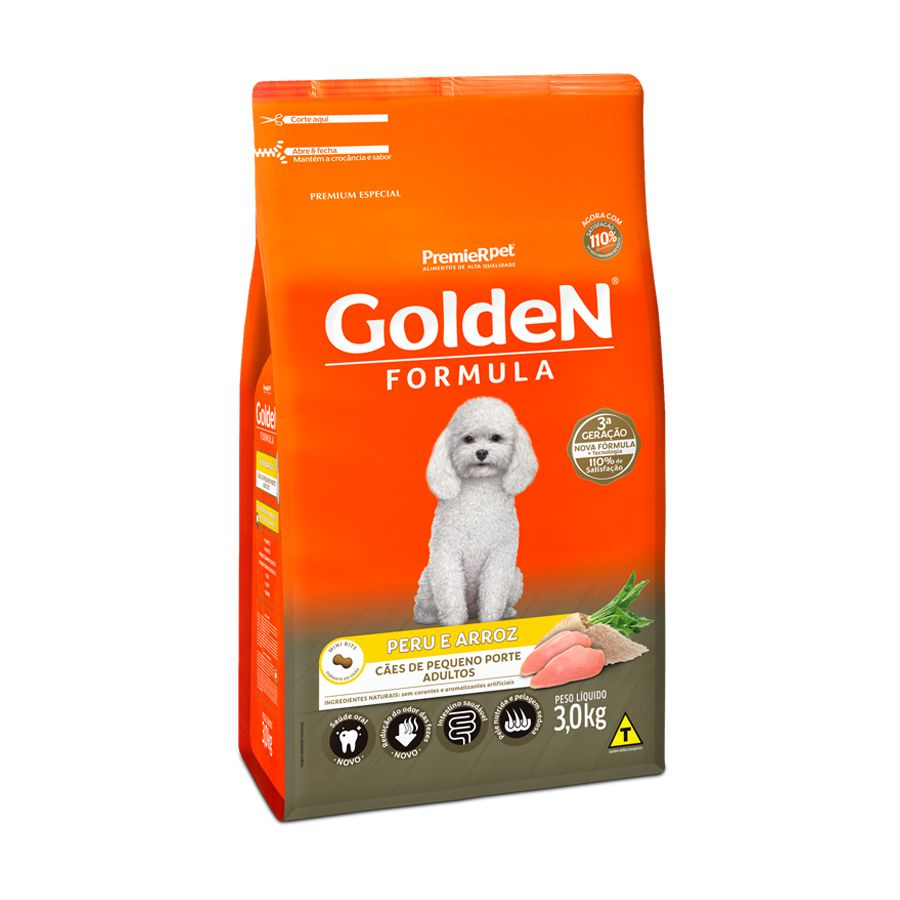 Ração Golden Fórmula para Cães Adultos de Pequeno Porte Sabor Peru e Arroz 3 Kg
