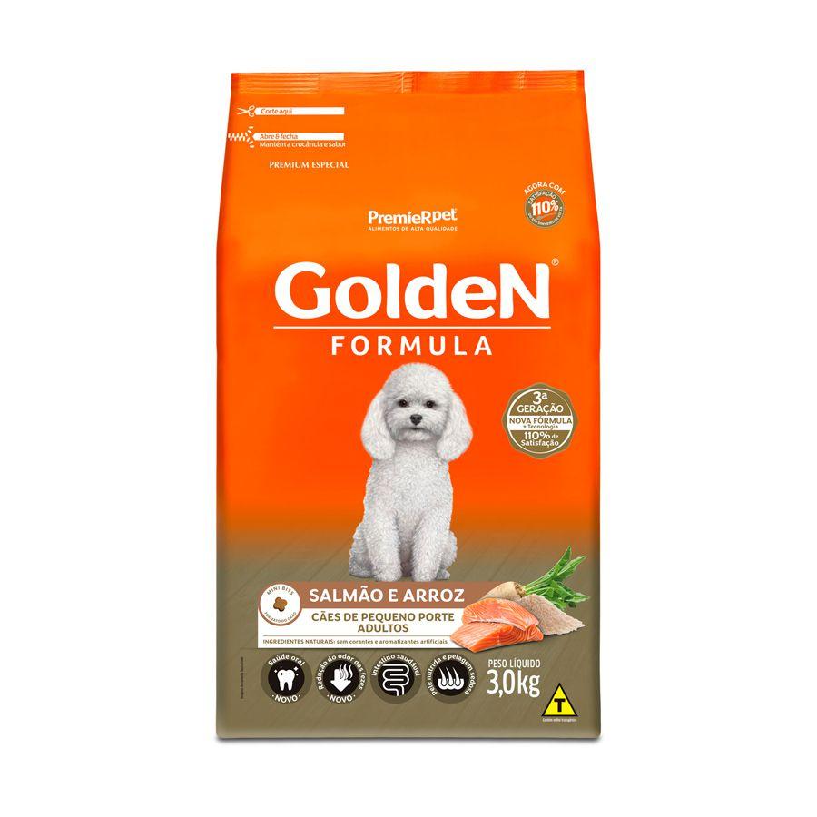 Ração Golden Fórmula para Cães Adultos de Pequeno Porte Sabor Salmão e Arroz 3 Kg