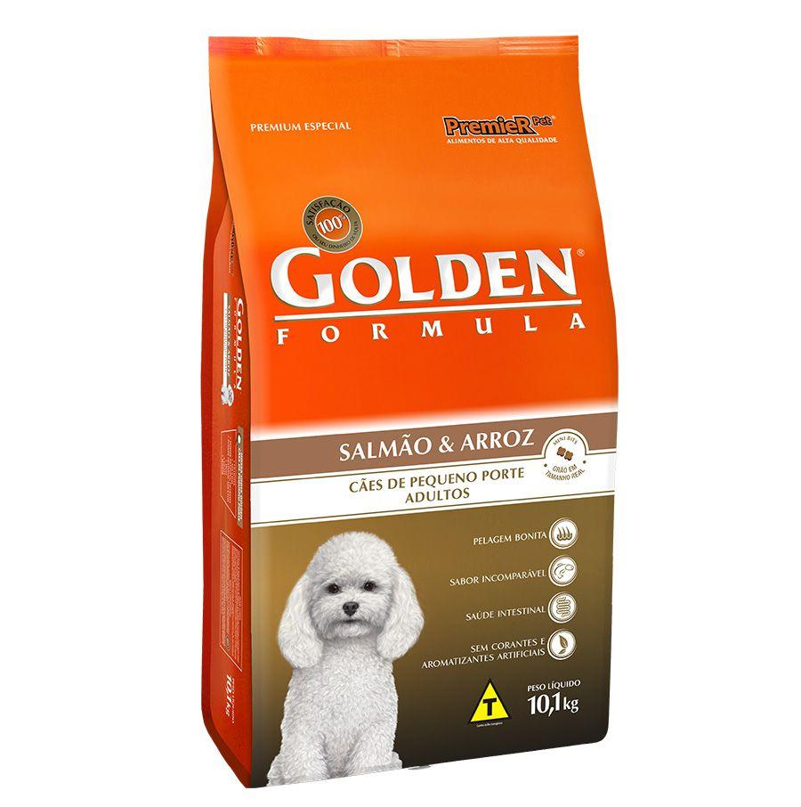 Ração Golden Fórmula para Cães Adultos de Pequeno Porte Sabor Salmão e Arroz 10,1 Kg