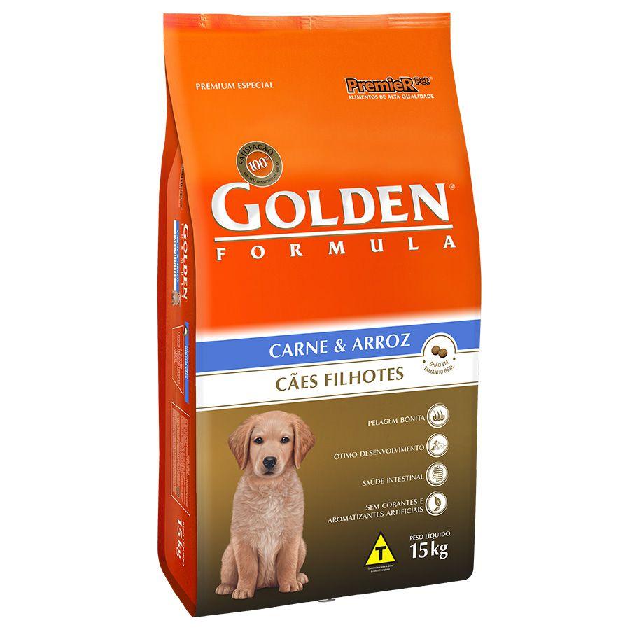 Ração Golden Fórmula para Cães Filhotes Sabor Carne e Arroz 15 Kg