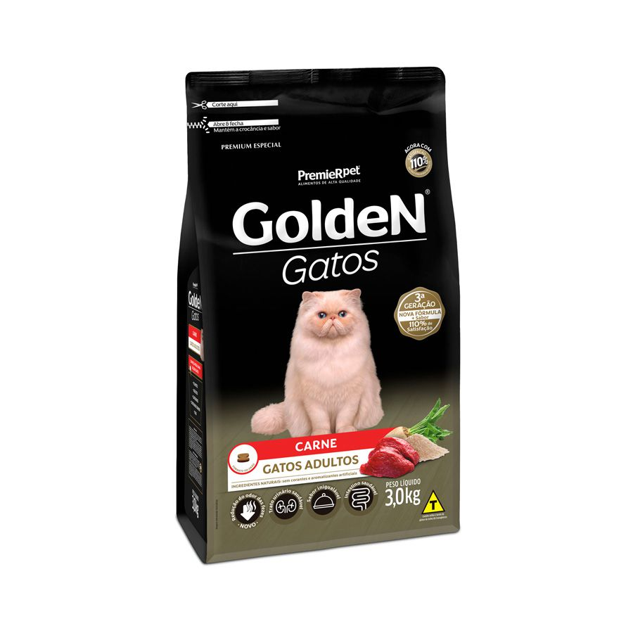Ração Golden Gatos para Adultos Sabor Carne 3 Kg