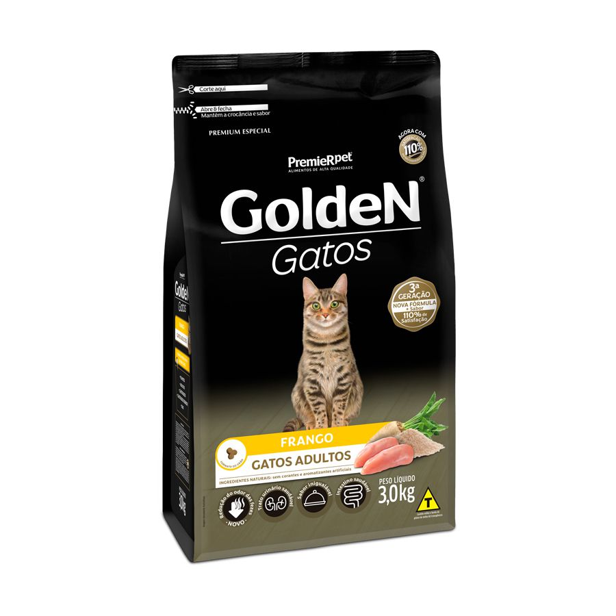 Ração Golden Gatos para Adultos Sabor Frango 3 Kg