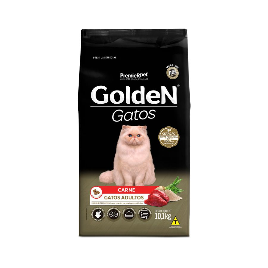 Ração Golden Gatos para Adultos Sabor Carne 10 Kg