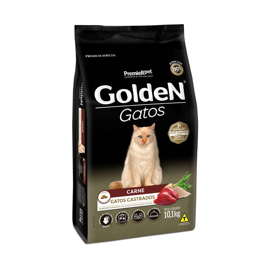 Ração Golden Gatos para Castrados Sabor Carne 10,1 Kg