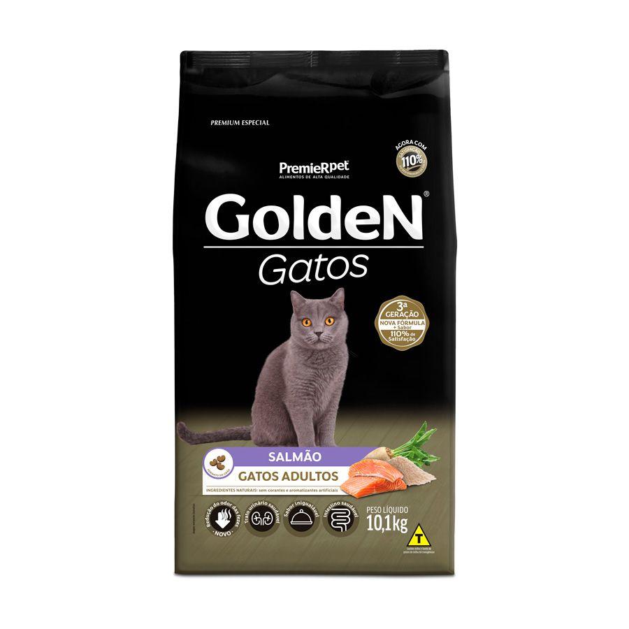Ração Golden Gatos para Adultos Sabor Salmão 10,1 Kg