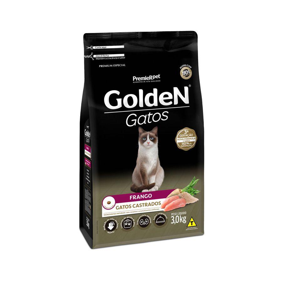 Ração Golden Gatos para Castrados Sabor Frango 3 Kg