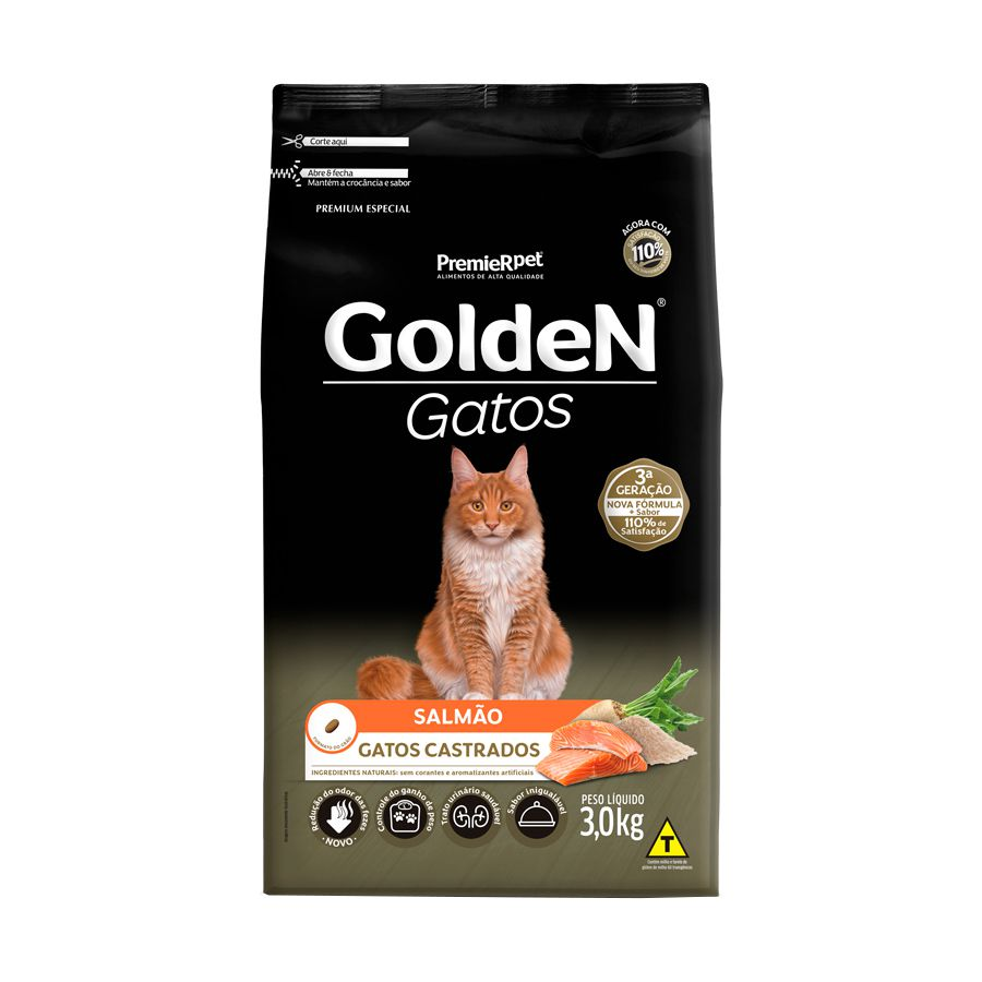 Ração Golden Gatos para Castrados Sabor Salmão 3 Kg