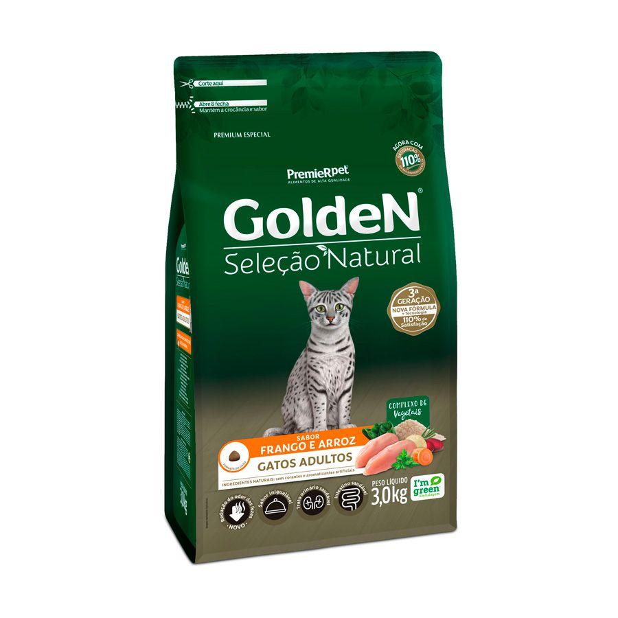 Ração Golden Seleção Natural para Gatos Adultos Sabor Frango e Arroz 3 Kg