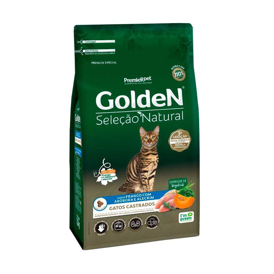 Ração Golden Seleção Natural para Gatos Castrados Sabor Frango com Abóbora e Alecrim 3 Kg